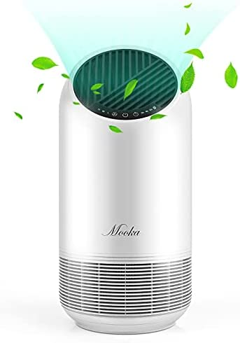 MOOKA Air Purifier for Home Large Room up to 323ft², True HEPA Filter Air Cleaner for Allergies Pets Mold Pollen and Smoke, Odor Eliminator for Bedroom Office with Filter Reminder and Timer