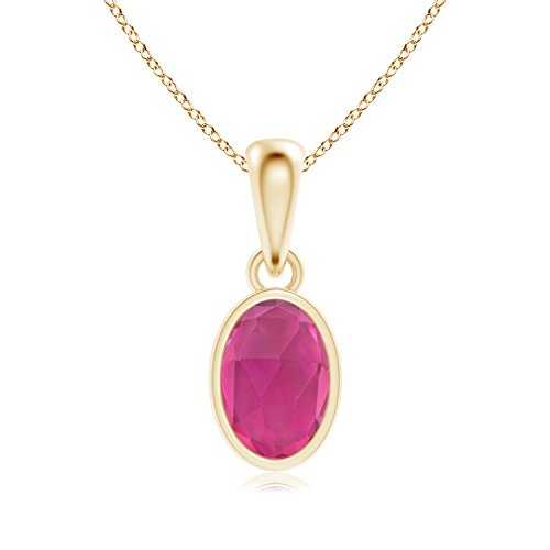 Oval Pink Tourmaline Solitaire Dangle Pendant in 14K Yellow Gold (6x4mm Pink Tourmaline)
