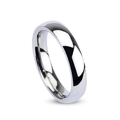 9ad9d5b5400f Coolbodyart anillo acero inoxidable de plata Clásico Alianza alto brillo  pulido 4mm Ancho Tamaños anillo 46