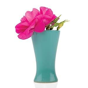 Chive - Pallette, Ceramic Flower Vase, Cup Shape in Teal