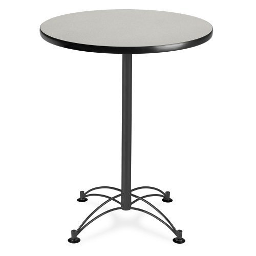 OFM CBLT30RD-GRYNB Round Cafe Table, Black Base, 30'', Gray Nebula by OFM