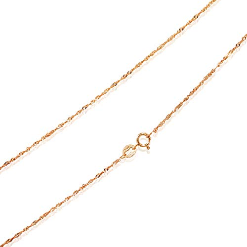 - Sea of Ice Rose Gold Flashed Sterling Silver 1mm Twisted Curb Singapore Rope Chain Anklet, Size 10