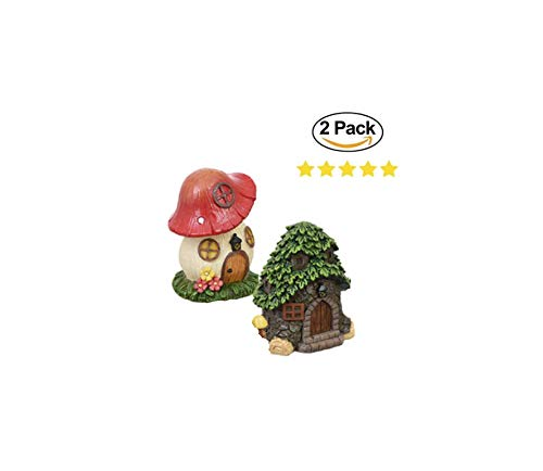 Bronze Fish Bowl - Creative Art 2 Mushroom House Decoration. Red Mushroom Figurine Tree House Garden Decoration. Fish Tank Bowl Rocks Aquarium House Decor 5in