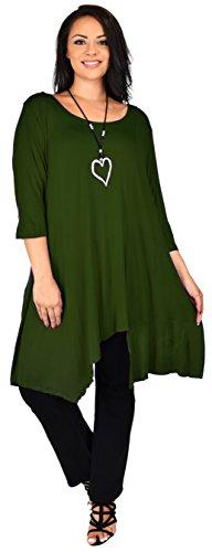 (Dare2BStylish Women Plus Size Asymmetrical Long Tunic Shirt Dress Top (1X/2X, Olive))