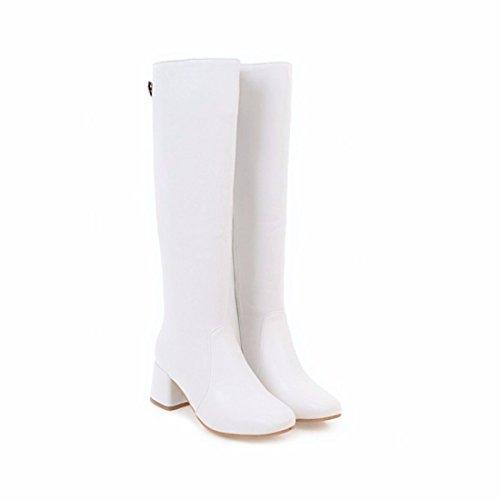 de y tacón otoño con la Caballero puro white grueso invierno color botas el cilindro El hembra juventud Largo dqwOY05qx