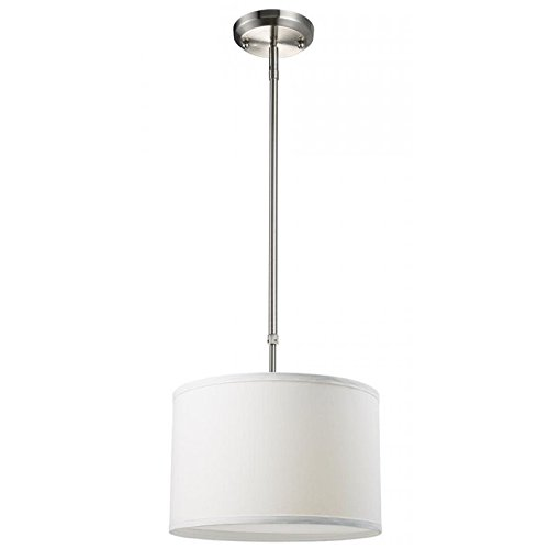 Albion 1 Light Pendant - Z-Lite 171-12W Albion One Light Pendant, Metal Frame, Brushed Nickel Finish and White Linen Shade of Fabric Material
