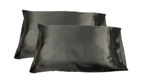Price comparison product image 2pc New Queen / Standard Silk~y Satin Pillow Case Multiple Colors (Black)