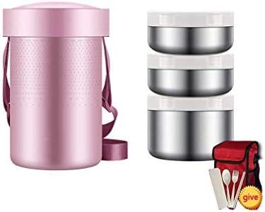 絶縁弁当箱スープ魔法瓶広口2L 3ティア大食品サーモスジャー食品フラスコのために熱い食品とストラップサーマルスープコンテナステンレス魔法瓶食品 (Color : A)