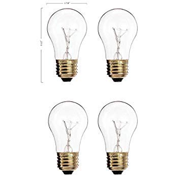 (Pack of 4) 60A15/CL - 60-Watt A15 Incandescent Appliance Bulb - Clear Finish - Medium (E26) - Standard US Size Household Base - A15 60w Appliance