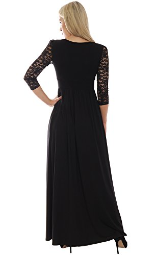 Elegantes Langes Schwarzes Damenkleid mit 3/4 Spitzenarm Maxi ...