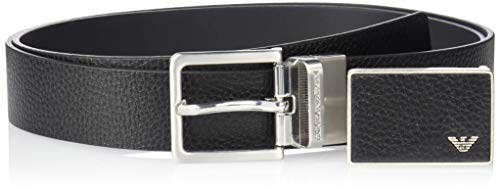 Emporio Armani Men's Designer Belt Gift Box, black/dark tan, One Size (Best Designer Belts 2019)