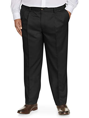 Pleated Chino Pant Classic - Amazon Essentials Men's Big & Tall Classic-Fit Wrinkle-Resistant Pleated Dress Pant, Black, 46W x 32L