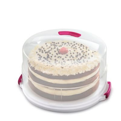 2 in 1 Height Adjustable Cake Carrier Caddy - Round Holds 30cm Cakes lakeland