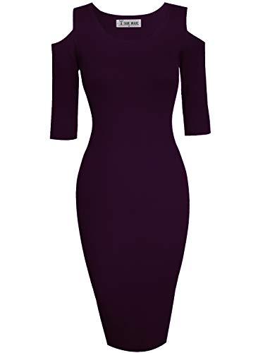 TAM WARE Womens Stylish Cut Out Shoulder Bodycon Knit Midi Dress TWCWD121-D160-DPURPLE-US L