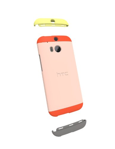 Htc Cell Phone Cases (HTC Double Dip Case for HTC One (M8) - Retail Packaging - Orange/Light Peach/Orange)