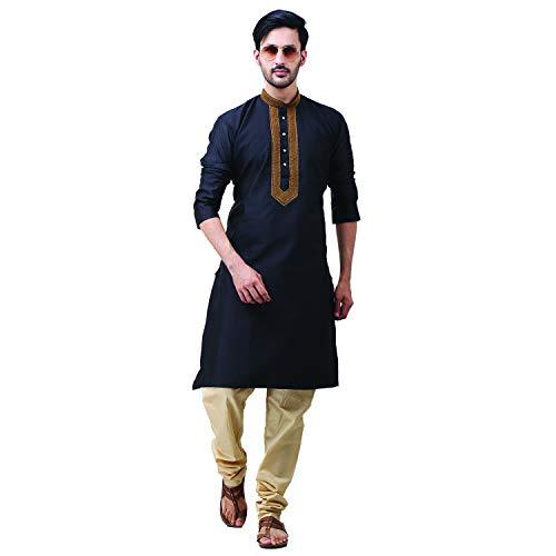 FOCIL Diwali Special Silk Blend Black Kurta Pyjama Embroidary Men ()