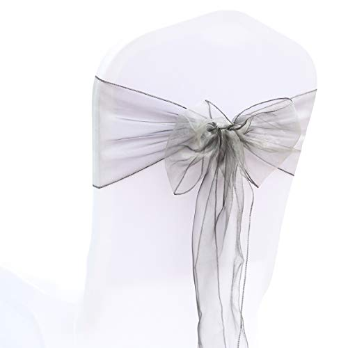 BITFLY Organza Chair Sashes for Wedding/Party - Chair Cover Sashes/Bows Sash/Ribbon/Tie Decor, Suit for Banquet, Catering, Reception, Events Supplies Chair Decorations Accessories (Silver, Pack of 50)]()