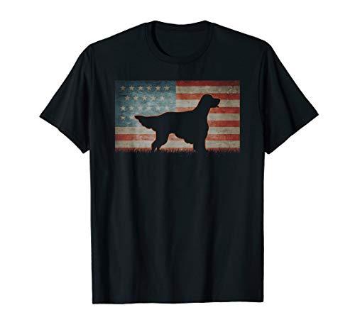 - Vintage Best USA English Setter Dog Dad Ever American Flag T-Shirt