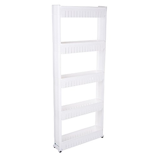 windaze Mobile Shelving with 5 Large Storage Baskets, Slim Slide Out Pantry on Rollers for Narrow -