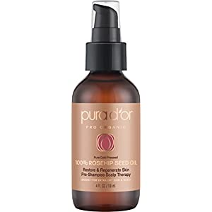 PURA D'OR Organic Rosehip Seed Oil 100% Pure Cold Pressed & USDA Organic Anti-Aging For Face, Hair, Skin & Nails, 4 Fluid Ounce