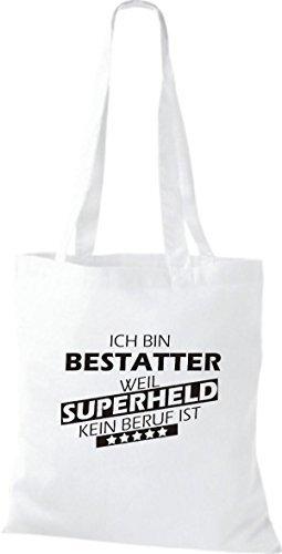 Shirtstown Bolso de tela Estoy Enterrador, weil Superheld sin Trabajo ist Blanco