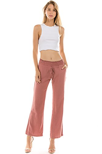 Mauve Linen - Onue Collection Women's Linen Wide Leg Pants, Large, Mauve
