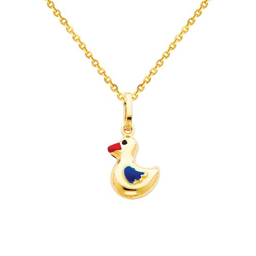 Gold Enamel Duck (Wellingsale 14k Yellow Gold Polished Duck Enamel Charm Pendant with 1.2mm Side Diamond Cut Cable Chain Necklace - 22