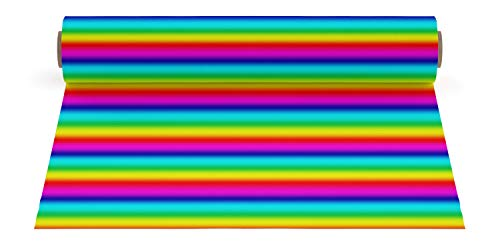 (Firefly Craft Patterned Elastic Foil Heat Transfer Vinyl for Silhouette and Cricut, 12 Inch by 20 Inch, Rainbow Stripe)