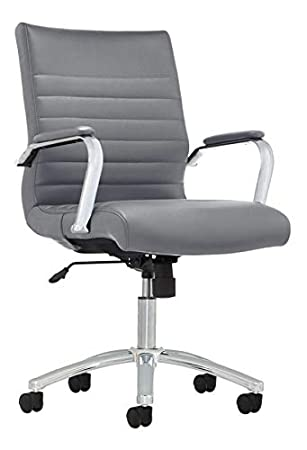 Prime Realspace Modern Comfort Series Winsley Bonded Leather Mid Back Chair Gray Machost Co Dining Chair Design Ideas Machostcouk