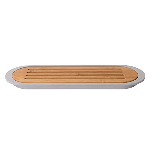 BergHOFF Leo Collection | 14-Inch Bamboo Baguette Cutting Board with Bamboo Fiber Crumb Tray | 2-Piece, Eco-Friendly | Grey