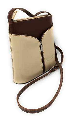 MH314 Italian Front Leather Cross Body Bag Small Patent MONAHAY Brown Beige Zipped SUzwz5