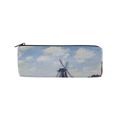 - Pencil Case Fields of Tulip with Rijnsburg Windmill Monet Art Pen Bag Students Stationery Storage Pouch, Makeup Pouch Wallet for Women