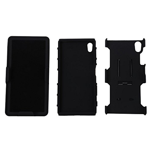 Caja del telefono celular - SODIAL(R)Caja hibrida protectora de alto impacto + pinza de correa soporte caja de bolso de telefono negro para el Sony Xperia Z5