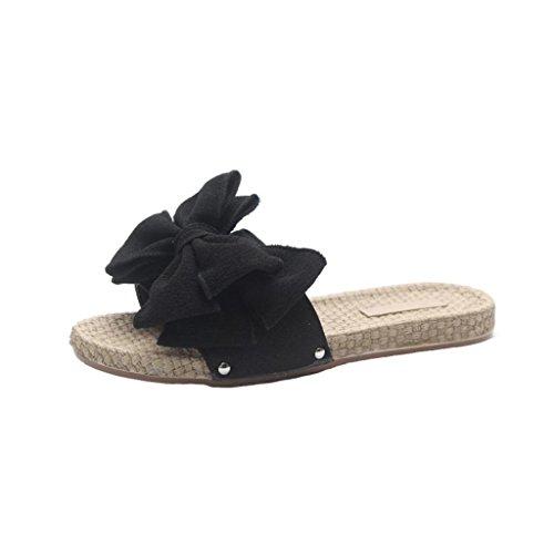 Trydoit Femmes Bow Sandales d'été Pantoufles d'intérieur intérieure Flip-Flops Chaussures de Plage Sandales Femmes Plates Noir Noir dS2t8B1e