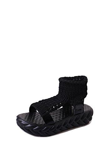 Fond d'été à Chaussures Poisson Sandales épais Plates tissé Black Bouche Main qSr8S5
