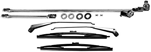 APDTY 5453958KM Windshield Wiper Transmission Linkage Assembly With New Wiper Blades & Arms Complete Kit For 1976-1986 Jeep CJ CJ5 CJ7 Wrangler (Includes Renegade, Golden Eagle, Laredo, & Jamboree ()