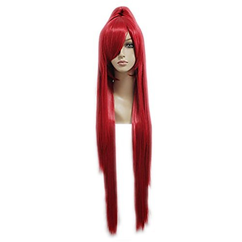 Xcoser Charming Erza Cosplay Wig Long Red Straight Wig With Single Pony Tail