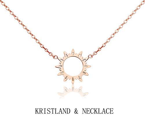 (KristLand - 18k Gold Plated Titanium Steel Cute Sun Flower Short Necklace Rose Gold Color Delicate Adjustable Choker Sunshine)