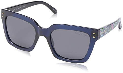 (Lilly Pulitzer Women's Celine Polarized Square Sunglasses, Navy Crystal, 54)