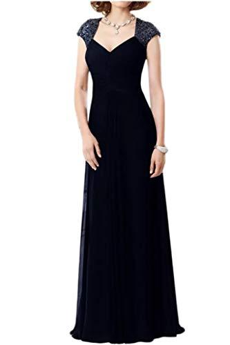 Navy Blau Marie Promkleider Chiffon Schnitt Perlen Lang Braut Pailletten Partykleider Kurzarm Abendkleider Schmaler La nSEwxpw