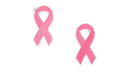 2 pieces PINK RIBBON Iron On Patch Applique Awareness Breast Cancer Support Ribbon Motif Symbol Decal 2 x 1 inches (5 x 2.5 cm)