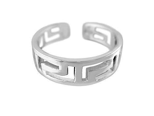 925 Sterling Silver Greek Key Meander Meandros Adjustable Pinky Toe Ring (Key Greek Ring Toe)