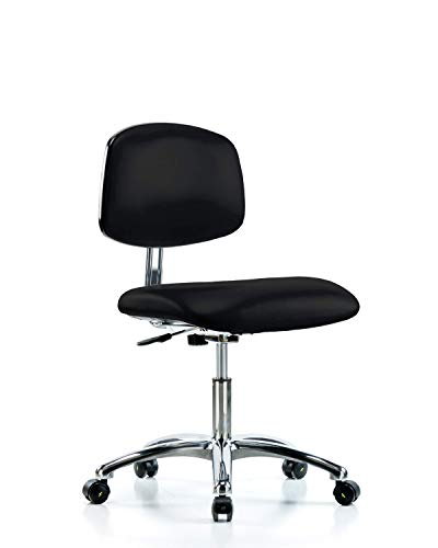 LabTech Seating LT40943 Class 10 Clean Room/ESD Vinyl Desk Height Chair Chrome Base, ESD Casters, Black