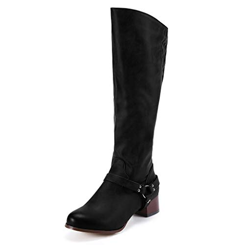 Cenglings Women's Mid-Calf Knight Boots, Leather Round Toe Low Chunky Heel Belt Buckle Rivets Non-Slip Zipper Thigh Boots (Patent Sandals Leather Guess)