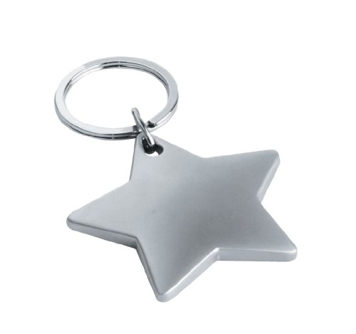 eBuyGB Metal Star Shaped Key Ring/Key Chain - Stocking Filler School Teachers Gift (Matt) ()