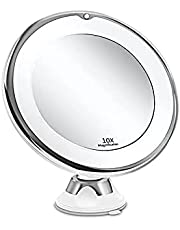10X Magnifying Lighted Makeup Mirror with Natural LED Lights, Portable Illuminated Bathroom Mirror,360 Degree Swivel Rotation and Locking Suction, Travel Vanity Mirror