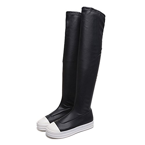 Flat Winter Knee Autumn The Shoes Boots Black Women's Women Knee Brezeh Over Slim Boots Boot SxqwXYInnt