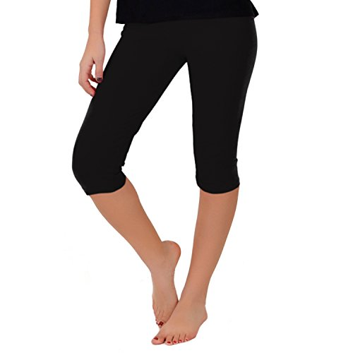 Stretch is Comfort Women's Teamwear Knee Length Leggings Black X-Large