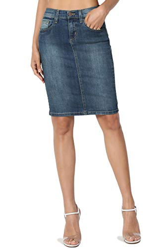 TheMogan Women's Mid Rise Back Slit Pencil Above Knee Short Denim Skirt Medium 5 ()