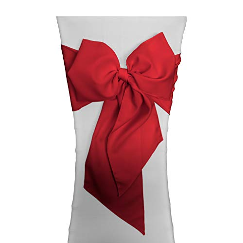 LA Linen Polyester Poplin Chair Bow Sashes, 7 by 108-Inch, Red, 10-Pack (Christmas Chair Sashes)